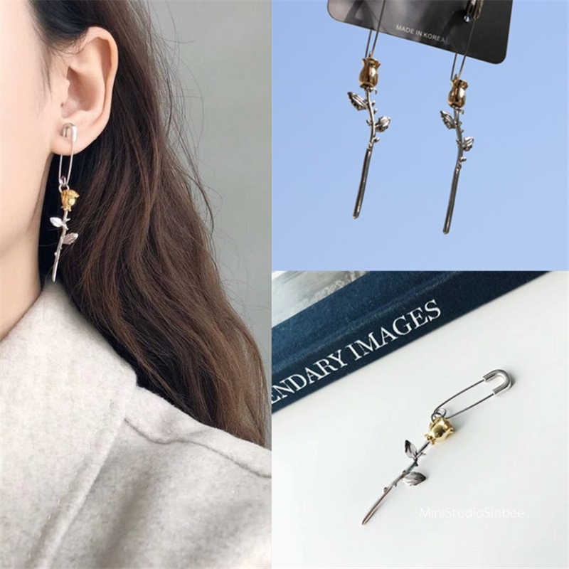 New Party Wedding Jewelry Cute Safety Pin Rose Flower Pendant Long Drop Dangle Earrings for Women Korean ZA Statement Brincos