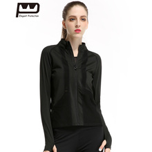 ФОТО  Womens Black Sports Jacket Long Sleeves Hoodies Breathable Front Zipper Yoga Top  Running Jogging Stand Neck 213