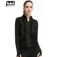New Women S Black Sports Jacket Long Sleeves Hoodies Breathable Front Zipper Yoga Top For Running