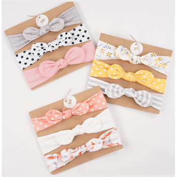 3pcs/set Baby Headband Girls Hair Accessories Cotton Rabbit Ear Turban Bow Elastic Hairband Baby Princess Christmas Day Gifts 1