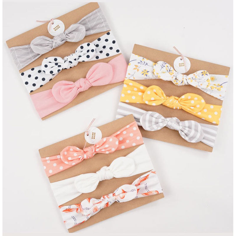3pcs/set Baby Headband Girls Hair Accessories Cotton Rabbit Ear Turban Bow Elastic Hairband Baby Princess Christmas Day Gifts(China)