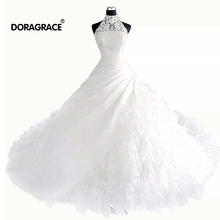 Doragrace vestidos de noiva Gorgeous High Neck Organza Ruffles Ball Gown Princess Wedding Dresses Bridal Gowns
