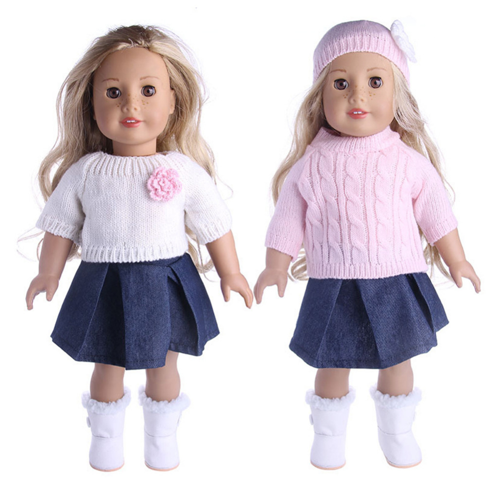 New Sweater+ Cap+ Jeans Dress Coat For Zapf Baby Born Clothes Wear Fit 18 Inch American Girl Today Doll Children Best Gift