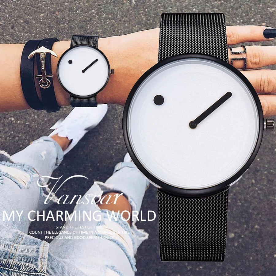Unisex Creative Design Dot and Line Style Quartz Watches Casual Women Men Mesh Band Wristwatches Montre Femme Dropshipping casual style print and canvas design satchel for women