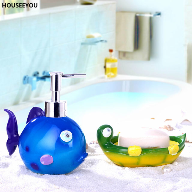 Childlike Colorful Bathroom Accessories Sets Soap Finding Nemo Lotion  Dispenser Tray Creative Box Storage Organizer 5Pcs/set