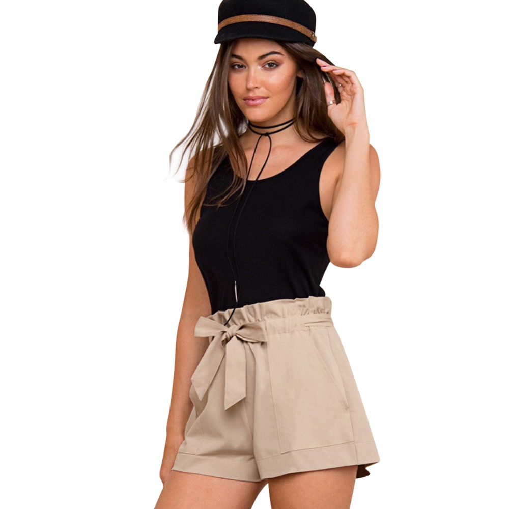 FashioShort High Waist Belt Solid Casual Shorts Women Chiffon Pocket Shorts