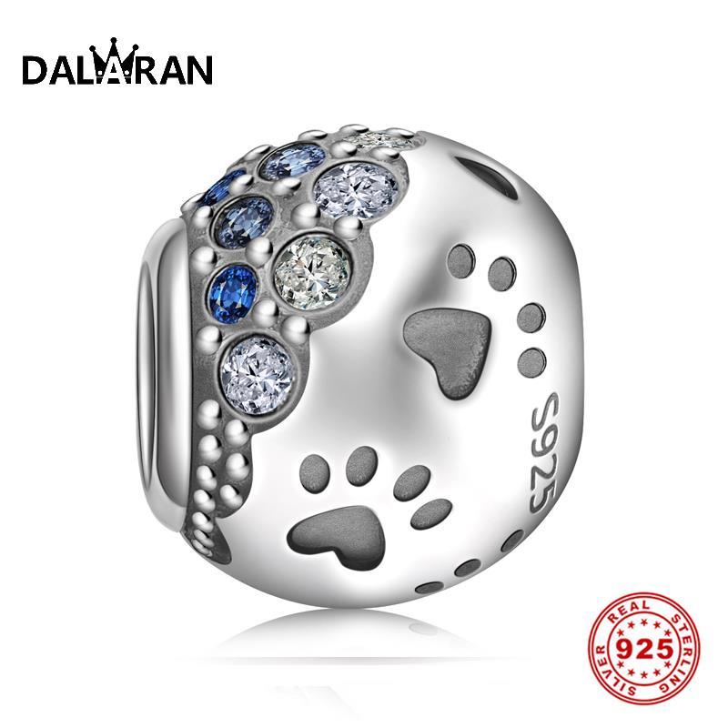 DALARAN DIY Bracelets Footprint Charms Sterling Silver 925 Beads Dazzling Blue Zircon Fit Necklace For Women Jewelry Making Gift