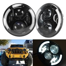 HJYUENG 50W 7Inch LED Headlight H4 H13 Hi-Lo With Halo Car Angel Eyes For Lada 4x4 urban Niva Jeep JK Land rover defender Hummer