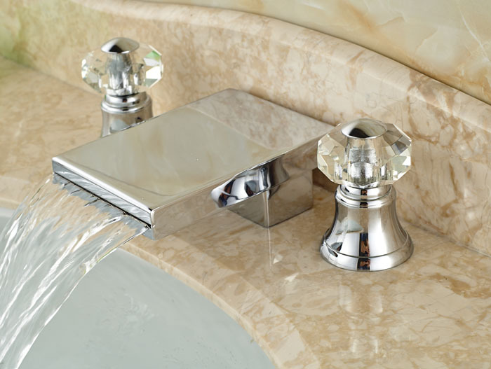 7 Faucet Finishes For Fabulous Bathrooms: Bathroom Sink Waterfall Mixer Faucet Crystal Handles 3