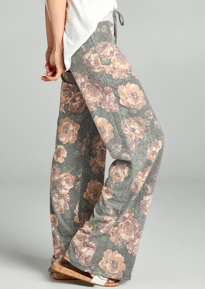 2018women's בגדי נשים בהדפס פרחוני מודפס מכנסיים רגל רחבים מכנסיים מזדמנים רופפים חוף הקיץ ארוך מכנסיים מותניים למתוח מכנסיים