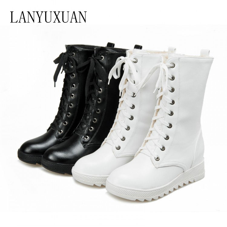 цены на 2017 Botas Mujer Big Size 43 Fashion Mid-calf Boots Vintage Brand Low Heels Spring Shoes Autumn Winter For Women Snow Shoe 165 в интернет-магазинах