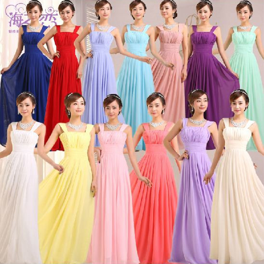 Vestido madrinhaSALE chiffon shoulders a Line purple royal blue pink sky blue   bridesmaid     dresses   long cheap wedding party   dress