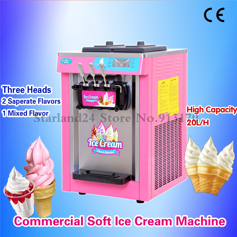 все цены на Commercial Ice Cream Machine 20L/H 220V Pink Color Three Heads LED Display Ice Cream Maker Frozen Yogurt Icecream Machine