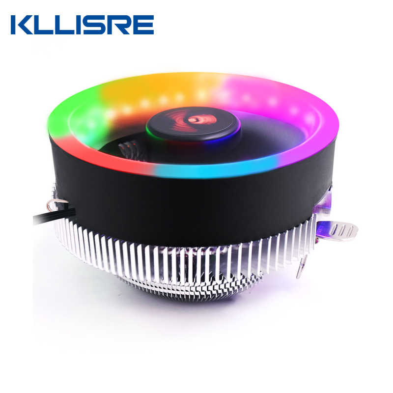 Kllisre PC CPU Cooler Fan Heatsink LED Aperture CPU Cooling Fan Quiet Radiator For Intel 775/1155/1150/1151 AM3 AM3+