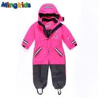 Russian mingkids Snowsuit toddler girl Rompers Ski Jumpsuit Outdoor Winter Warm Thicken Snow Suit waterproof windproof padded