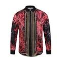 2017 Camisas Para Hombre de Rojo 3d de Impresión de Manga Larga Camisa de Moda luxury brand clothing slim fit animal camisetas únicas broque real vestido