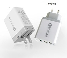 20pcs/lot QC3.0 5V 3A Universal 18W USB Quick charge EU US UK Plug Mobile Phone Fast charger charging 3 wall adapter