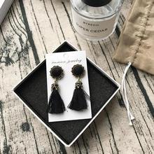 Vintage Bright Brick Flower Tassel Earrings