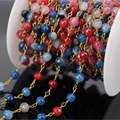 5Meter Multicolor Natural Agate Faceted Round Bead Rosary Chain,plated Gold Brass Wire Wrapped Chain DIY Fashion Jewelry Making