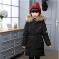 2016 Nuevos Niños Abrigo de Invierno Caliente de Espesor Delgado Pato Abajo chaqueta de Cuello de Piel Con Capucha Niños Niñas y Niños Prendas de Abrigo DQ088