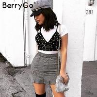 BerryGo Pu lederen parel cropped tanks top vrouwen Strap backless zomer stijl crop top 2018 Streetwear sexy camisoles tanks