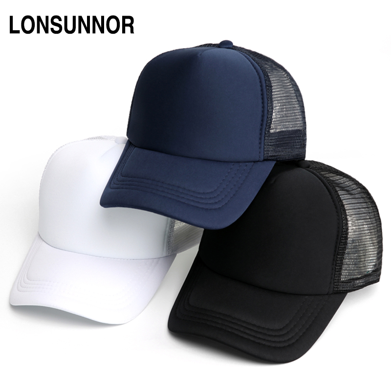 LONSUNNOR 2018 Blank Mesh Hat Caps Men Summer Breathable Snapback Baseball Cap Women Fashion Black Trucker Hat Hip Hop Bone 2018 cc denim ponytail baseball cap snapback dad hat women summer mesh trucker hats messy bun sequin shine hip hop caps casual