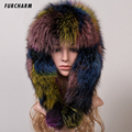 Genuine Fox Fur Hat Women Fox Fur Trapper Earflap Cap Snow Caps Winter Warm Hats Natural Thick Fox Fur Cap Bomber Hats