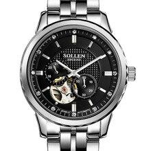SOLLEN 43 мм диаметр набрать автоматические механические часы мода полые водонепроницаемые часы мужской таблицы световой серебро + черный SL9106A