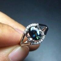 Białe złoto z 100% natural sapphire pierścień kobiet Niebieski i zielony Klasyczne zakontraktowane