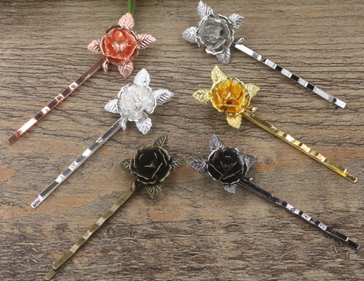 Antique Bronze/Gold/Silver/Black Barrettes Hair Bobby Pin clips with 20*25mm Flower Tray,Jewelry Findings Accessories 100pcs