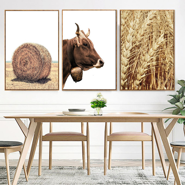 Us 4 04 32 Off Minimalist Farmhouse Animals Poster Wood Wall Art Golden Wheat Canvas Print Painting Dining Room Kitchen Room Modern Home Decor In
