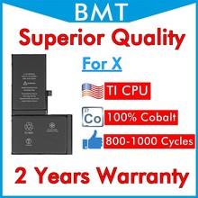 BMT 10 sztuk najwyższa jakość baterii dla iPhone X 2716mAh 100% komórka kobaltowa + technologia ILC 2019 wymieniona naprawa iOS 13