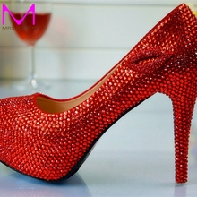 Fashion High Heels Bridesmaid Bridal Shoes Rhinestones Red Lady Shoes for Wedding Party Ball Prom Pageant Event