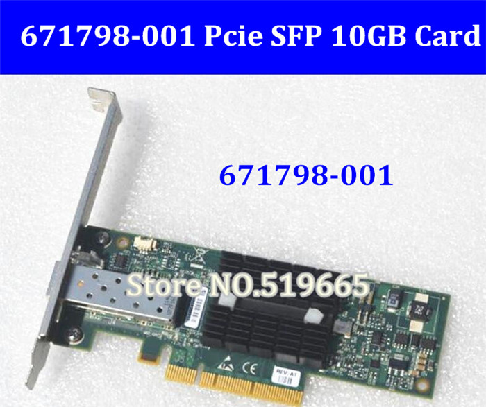 671798 001 PCIe x8 NIC 10Gigabit 10GBe SFP Single Port Server Adapter 10Gbit Network Card