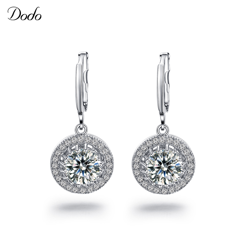 round filled with crystal women's CZ diamond drop earrings white gold plated pendientes boucle d'oreille Wedding brincos E21