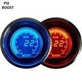 """Apoyo EE 2 """"52mm Azul Rojo de Luz LED Relojes Digitales Vacío PSI Turbo Boost Gauge Auto Car Styling XY01"""