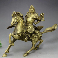 Carved antique bronze crafts Horse Brass Gong Wu God of wealth lucky Exorcise evil spirits Home Furnishing ornaments