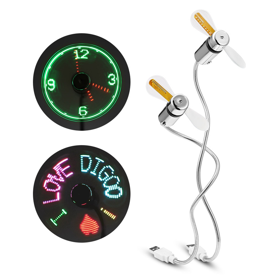 Digoo DIY RGB LED Programmable USB Fan & Real Time Cooling Flashing Clock Fan Colorful Display With Flexible Gooseneck Summer