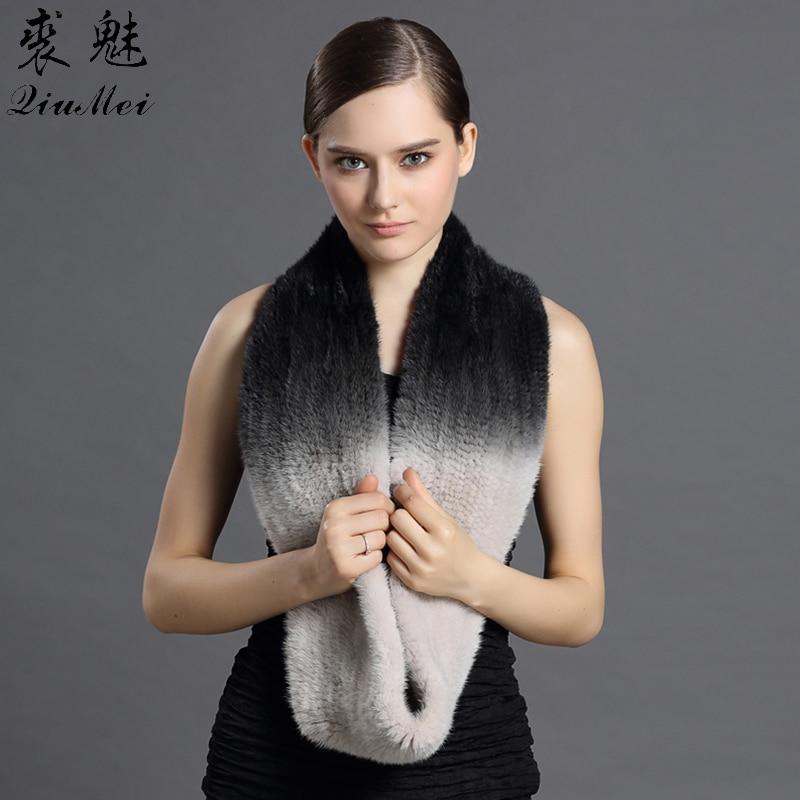 Новый норковый меховой шарф элегантный женский переход сплошной цвет эластичный материал нагрудники глубокие зимние шарфы красивые женск