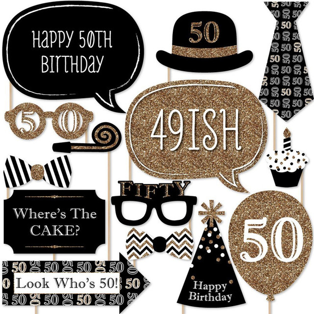 New DIY Photo Booth Props Funny Mask Adult 50th Birthday Stick Paper Crafts Sign
