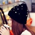 Nova Moda Feminina Inverno Quente Gorro de Tricô Chapéu de Lã Pérola Cap chapéu gorros de malha chapéu do inverno para mulheres da menina cap