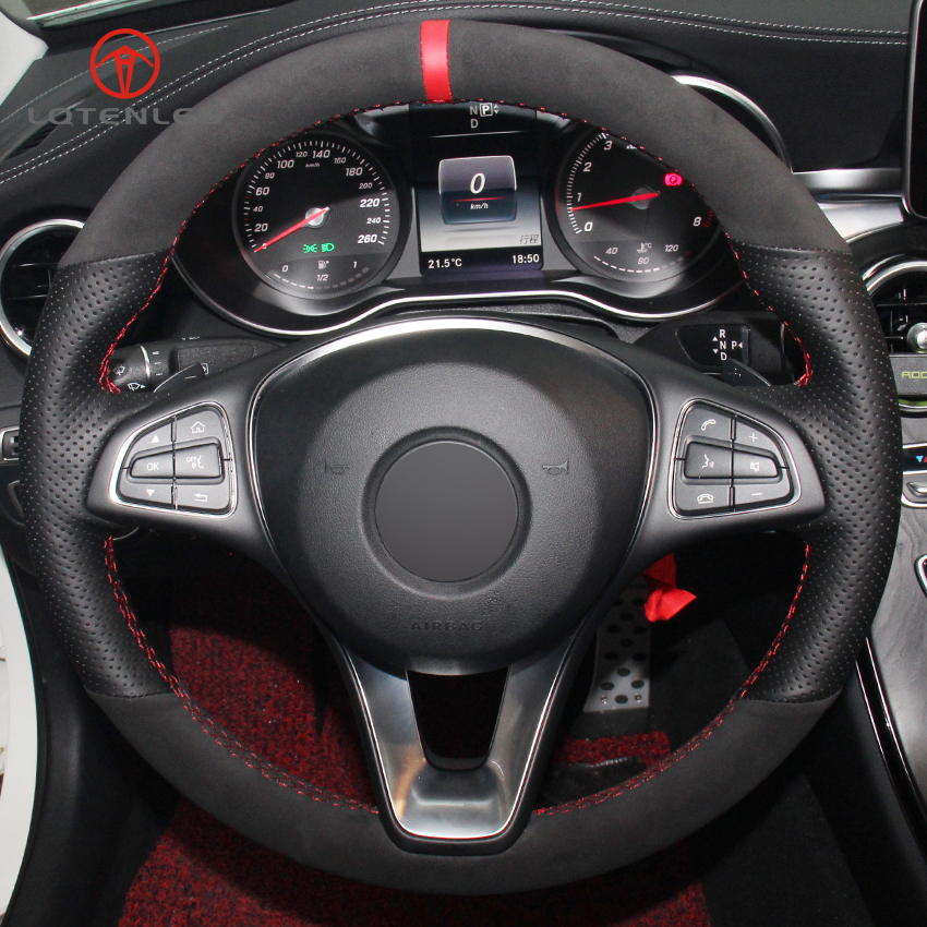 XuJi Black Genuine Leather Suede Car Steering Wheel Cover for Mercedes Benz C180 C200 C260 C300 B200 mercedes c200 steering wheel