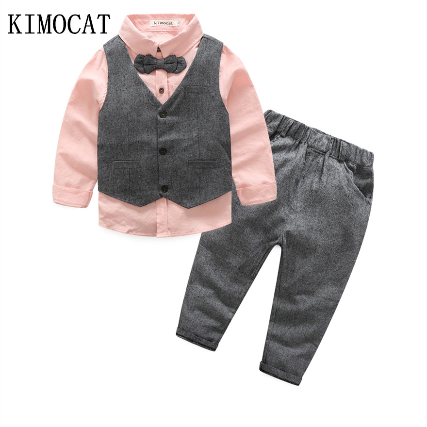 2017 Fashion Children Clothing Kids Clothes Baby Boy Suit Gentleman Fashion Wedding Formal Spring Autumn Vest Tie Shirt Pant new 2018 spring fashion baby boy clothes gentleman suit short sleeve stitching plaid vest and tie t shirt pants clothing set