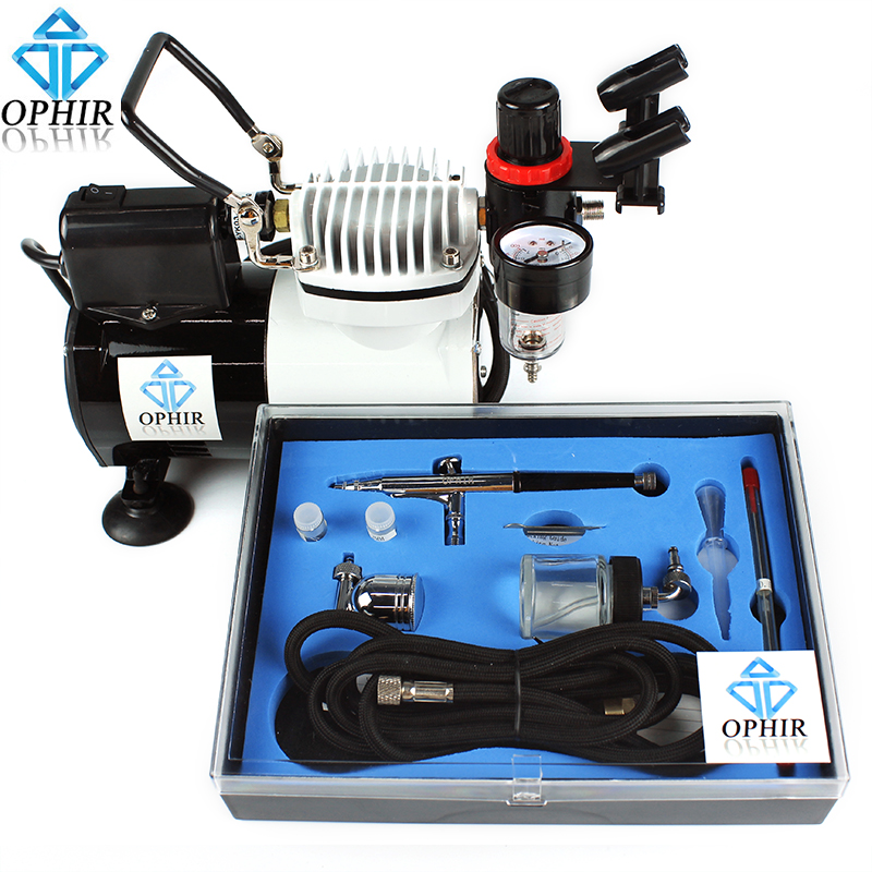 OPHIR Dual-Action Spray Gun Set Air Compressor Airbrush Kit for Body Art Tattoo Paint Cake Decoration_AC114+AC074 ophir 0 3mm dual action airbrush compressor kit gravity spray paint gun for hobby tattoo cake decorating airbrush ac088 ac005