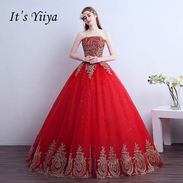 2017 Summer Real Photo Tulle Red Strapless Gold Lace Wedding Dresses Cheap Bride  Gowns Custom Made Vestidos De Novia XXN140 3378545dc829