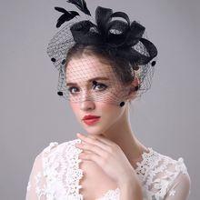 Dressv элегантная Свадебная шляпка вуаль свадебные цветы перышки