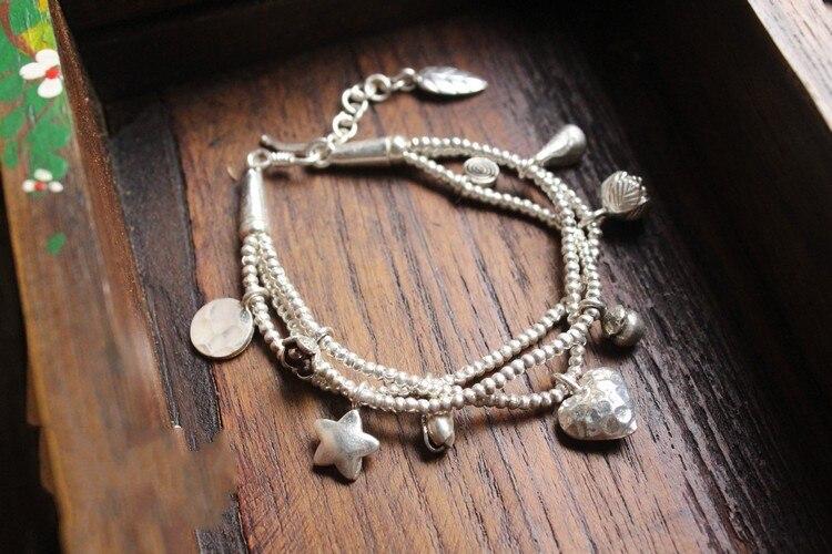 Bracelet en argent pur s925 avec des cœurs de charme multicouches pour femmes, petits poissons