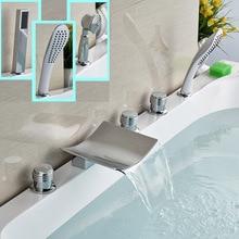 Polished Chrome Bthroom Bathtub Faucet Deck Mounted 5pcs Brass Waterfall Tub Mixer Taps Handshower
