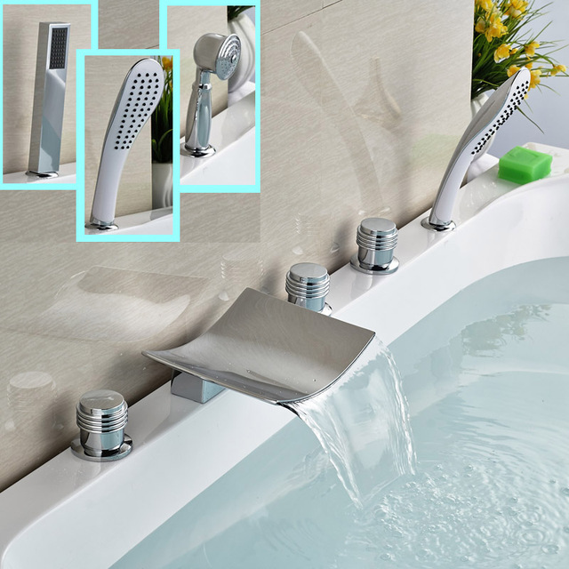 Polished Chrome Bthroom Bathtub Faucet Deck Mounted 5pcs Brass ...