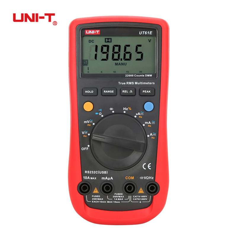 UNI-T UT61A UT61B UT61C UT61D UT61E Digital Multimeters True RMS AC DC Auto Range Tester Meter hEF RE-232 Diode Temperature uni t ut61a ut61b ut61c ut61d ut61e digital multimeter ture rms dmm ac dc meter data hold multitester electrical instruments
